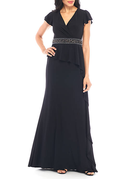Adrianna Papell Draped Jersey Long Dress