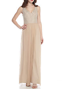 Bead Embellished Bodice Mesh Gown