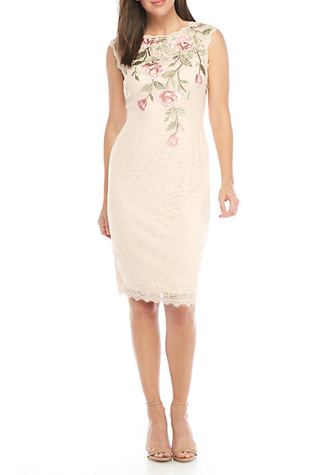 Adrianna Papell Sleeveless Embroidered Short Dress