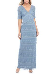 V-Neck Lace Long Dress