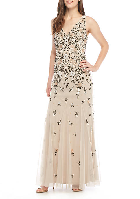 Adrianna Papell Sleeveless Embroidered Gown