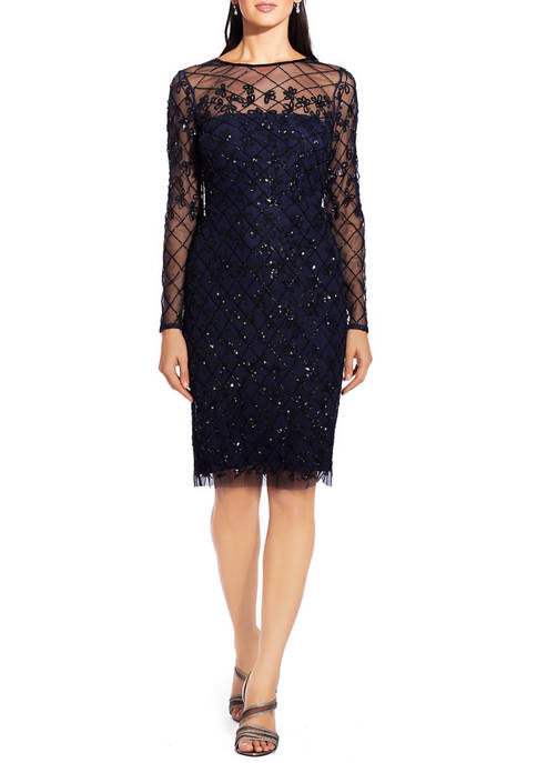 Adrianna Papell Womens Long Sleeve Beaded Mesh Dress