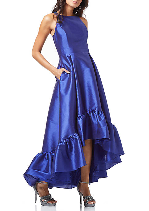 Adrianna Papell High Low Hem Faille Gown