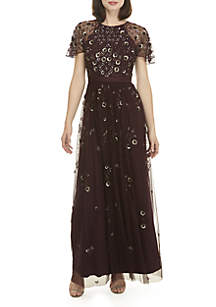 Sheer Embellished A-Line Gown