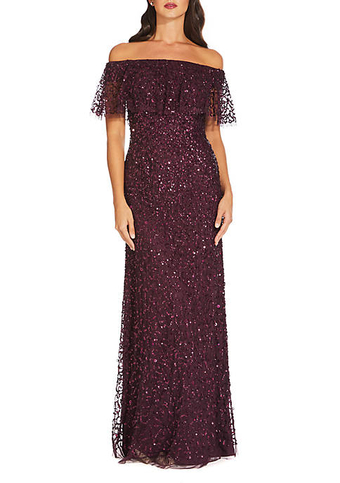 Adrianna Papell Off the Shoulder Beaded Long Gown