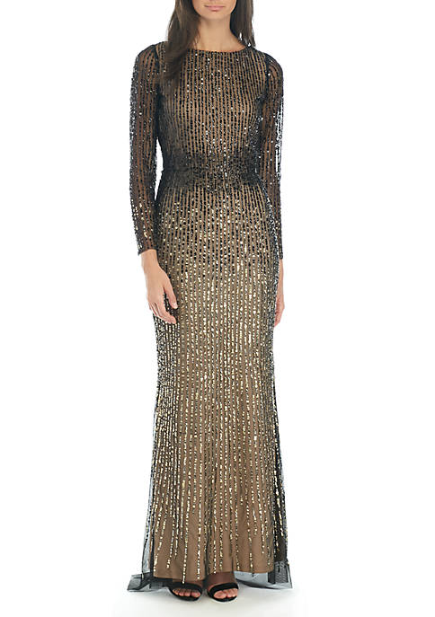 Adrianna Papell Bead and Sequin High Low Gown
