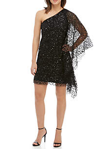1 Shoulder Sequin Mesh Cocktail Dress