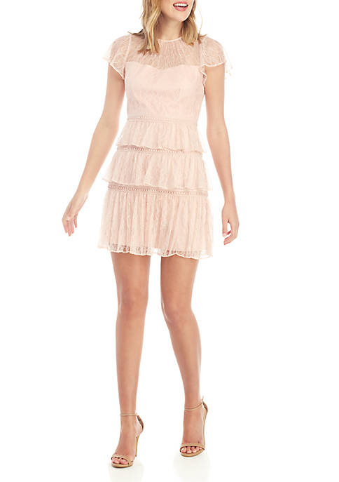 Adrianna Papell Short Sleeve Ruffle Short Dress