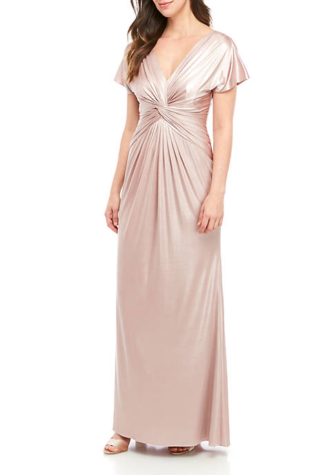 Adrianna Papell Short Sleeve Knot Long Gown
