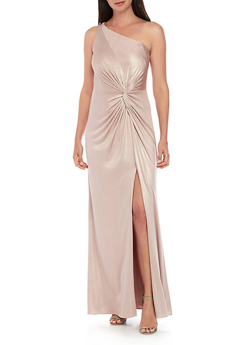 Adrianna Papell One Shoulder Knit Long Evening Gown