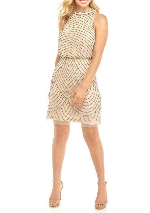 Adrianna Papell Womens Halter Bead Cocktail Dress