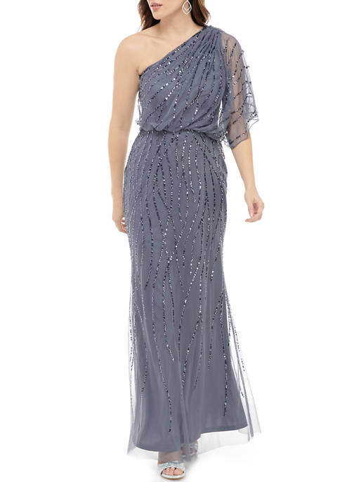 Adrianna Papell Womens Beaded One Shoulder Gown