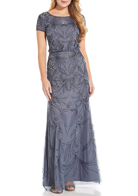 Adrianna Papell Short Sleeve Embroidered Blouson Gown