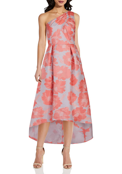 Womens Floral Jacquard High Low Gown