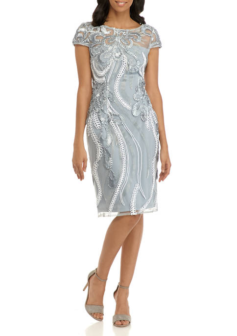 Womens Ribbon Embroidered Cocktail Dress