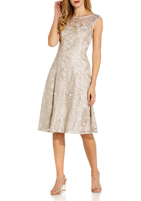 Adrianna Papell Womens Sleeveless Sequin Embroidered Fit and