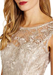 Womens Sleeveless Sequin Embroidered Fit and Flare Dress