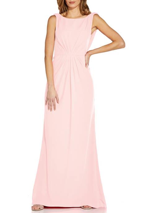 Adrianna Papell Womens Sleeveless Drape Crepe Gown
