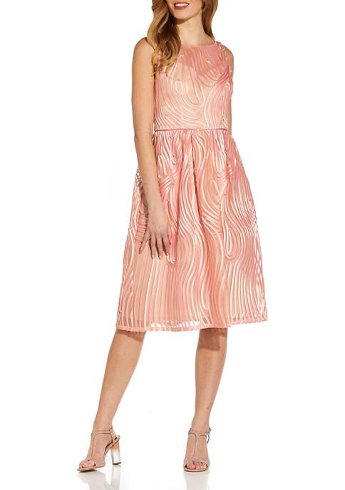 Adrianna Papell Womens Sleeveless Ribbon Embroidered Empire Waist