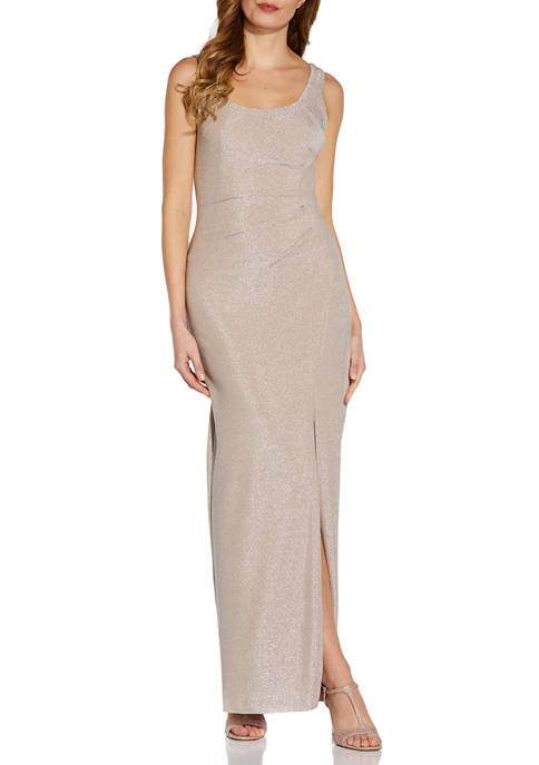 Womens Sleeveless Side Ruched Glitter Gown