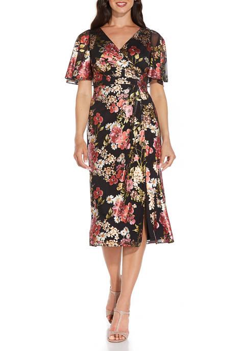 Adrianna Papell Womens Flutter Sleeve Floral Surplice Dress