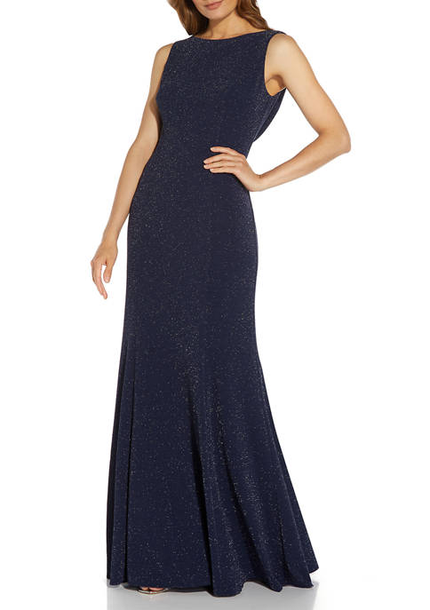 Adrianna Papell Sleeveless Cowl Back Metallic Knit Gown