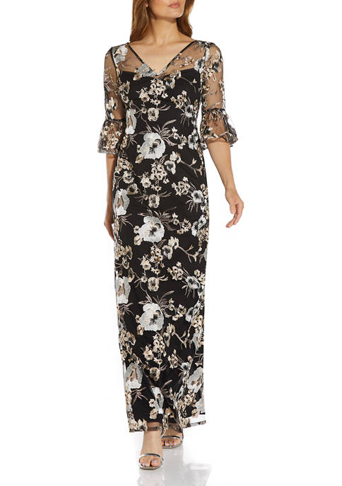 Adrianna Papell Womens Floral Sleeve Embroidered Gown