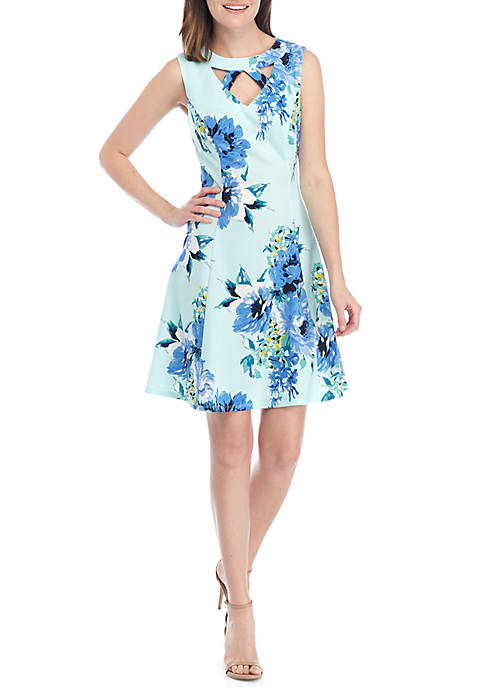 AGB Sleeveless Keyhole Neck Floral Fit and Flare