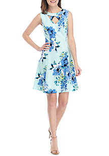 AGB Sleeveless Keyhole Neck Floral Fit and Flare Dress