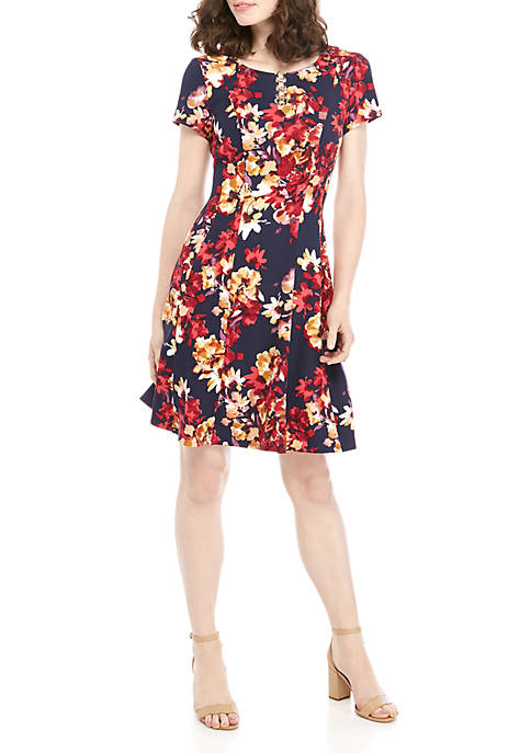 AGB Floral 4 Ring Fit and Flare Dress