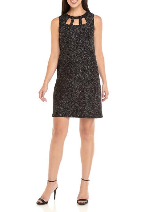 Womens Cutout Glitter Textured Knit Dress