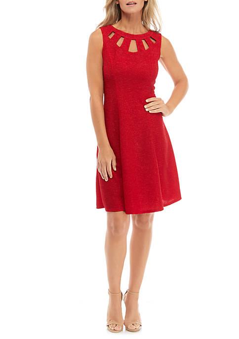 Womens Sleeveless Cutout Glitter Knit Dress