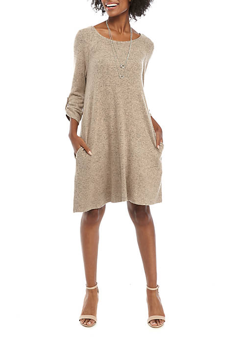 Womens Long Tab Sleeve Dress with Necklace