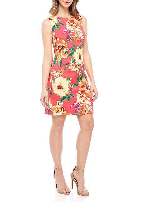 Sleeveless Coral Floral Sheath Dress