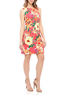 AGB Sleeveless Coral Floral Sheath Dress
