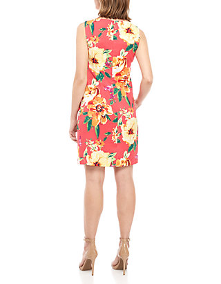 88242cde6ef9 AGB Sleeveless Coral Floral Sheath Dress AGB Sleeveless Coral Floral Sheath  Dress