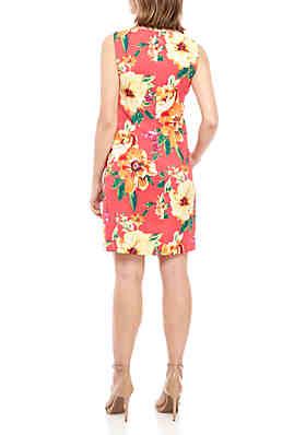 4038b6cd2a8 AGB Sleeveless Coral Floral Sheath Dress AGB Sleeveless Coral Floral Sheath  Dress