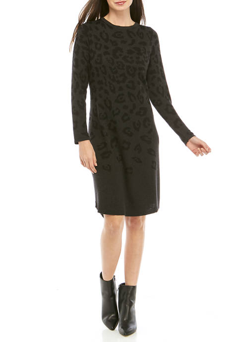 AGB Womens Animal Print Sweater Dress