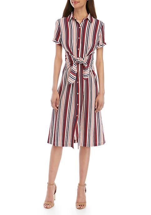 Short Sleeve Tie Front Shirt Dress