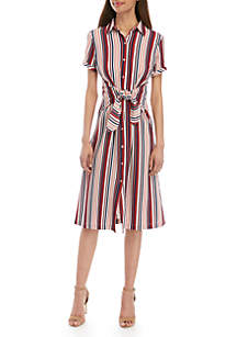 AGB Short Sleeve Tie Front Shirt Dress