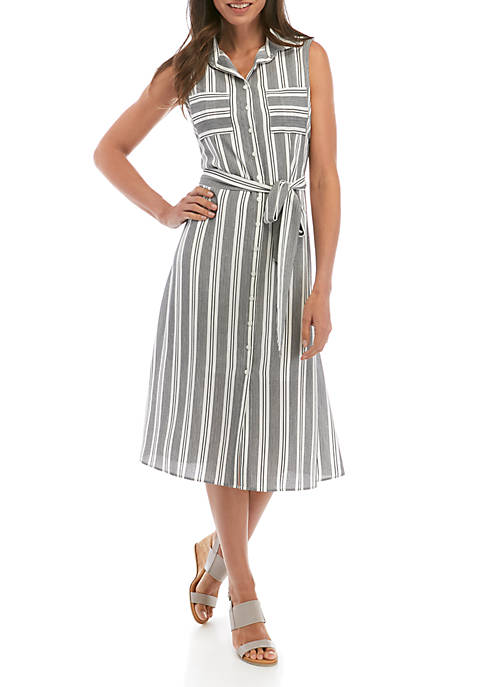 Sleeveless Stripe Shirt Dress
