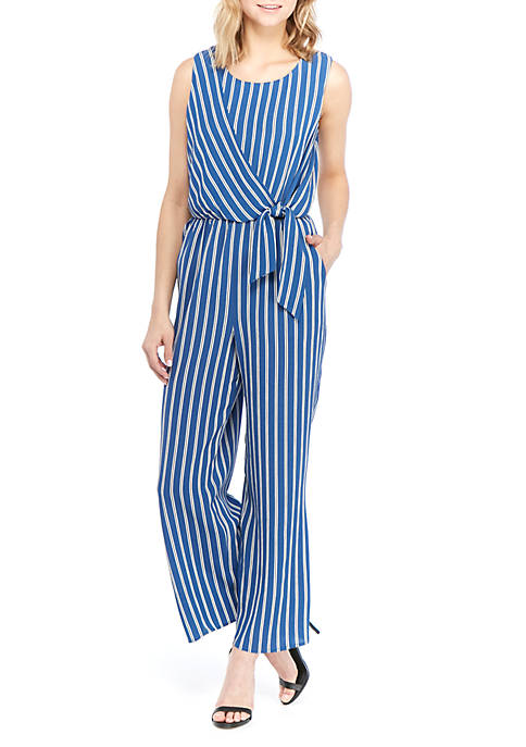 AGB Sleeveless Tie Front Striped Jumpsuit