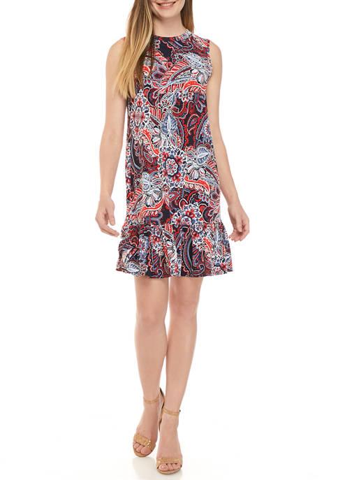 AGB Womens Paisley Flounce Hem Dress