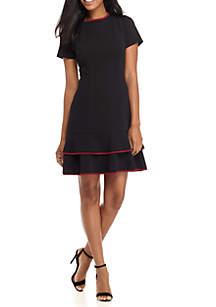 Short Sleeve Contrast Trim Peplum Dress