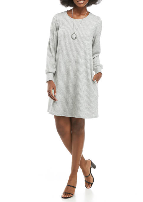 AGB Womens Long Puff Sleeve Swing Dress
