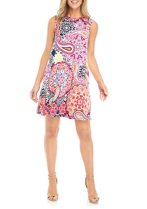 AGB Sleeveless A Line Puff Print Dress