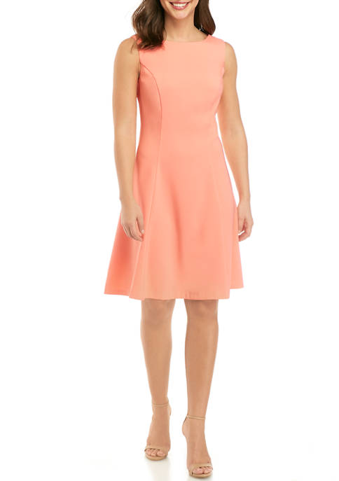 AGB Womens Solid Fit and Flare Dress