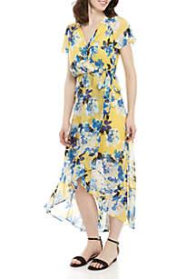 AGB Floral Faux Wrap Maxi Dress