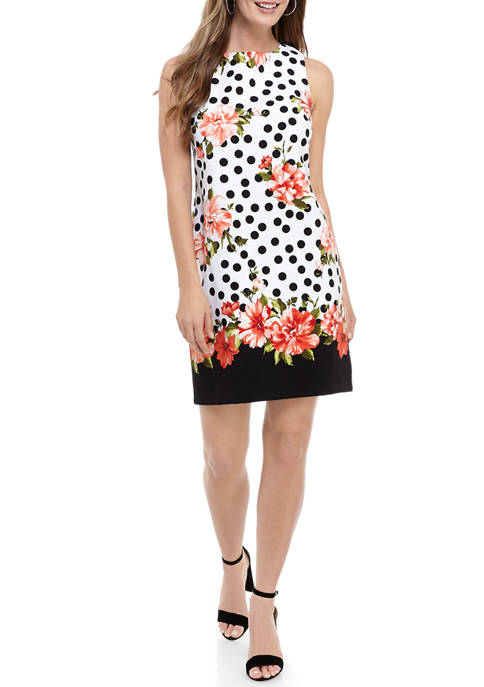 AGB Womens Dot and Floral Sleeveless Sheath Dress