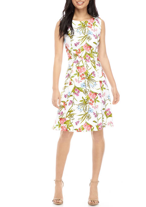 AGB Womens Floral Fit and Flare Dress